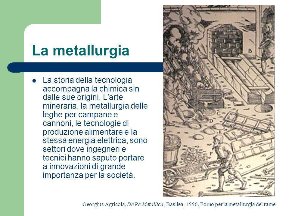 La metallurgia La storia della tecnologia accompagna la chimica sin dalle sue origini. L'arte mineraria, la metallurgia delle leghe per campane e cann