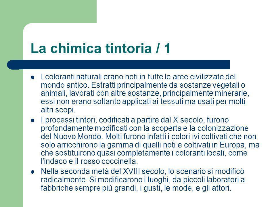 La chimica tintoria / 1 I coloranti naturali erano noti in tutte le aree civilizzate del mondo antico. Estratti principalmente da sostanze vegetali o
