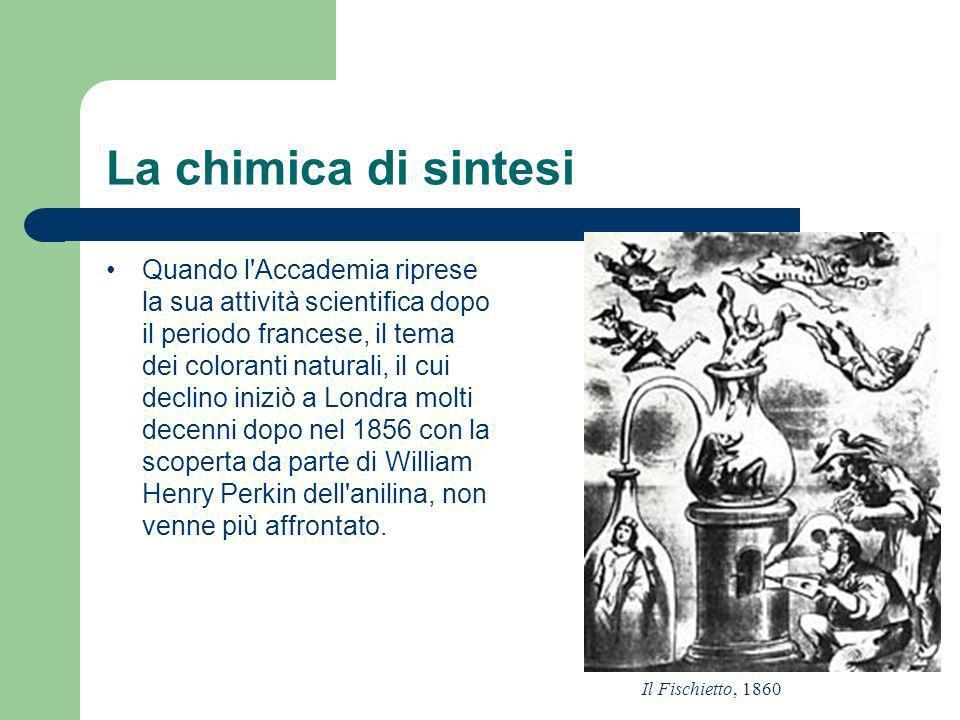 La chimica di sintesi Quando l'Accademia riprese la sua attività scientifica dopo il periodo francese, il tema dei coloranti naturali, il cui declino