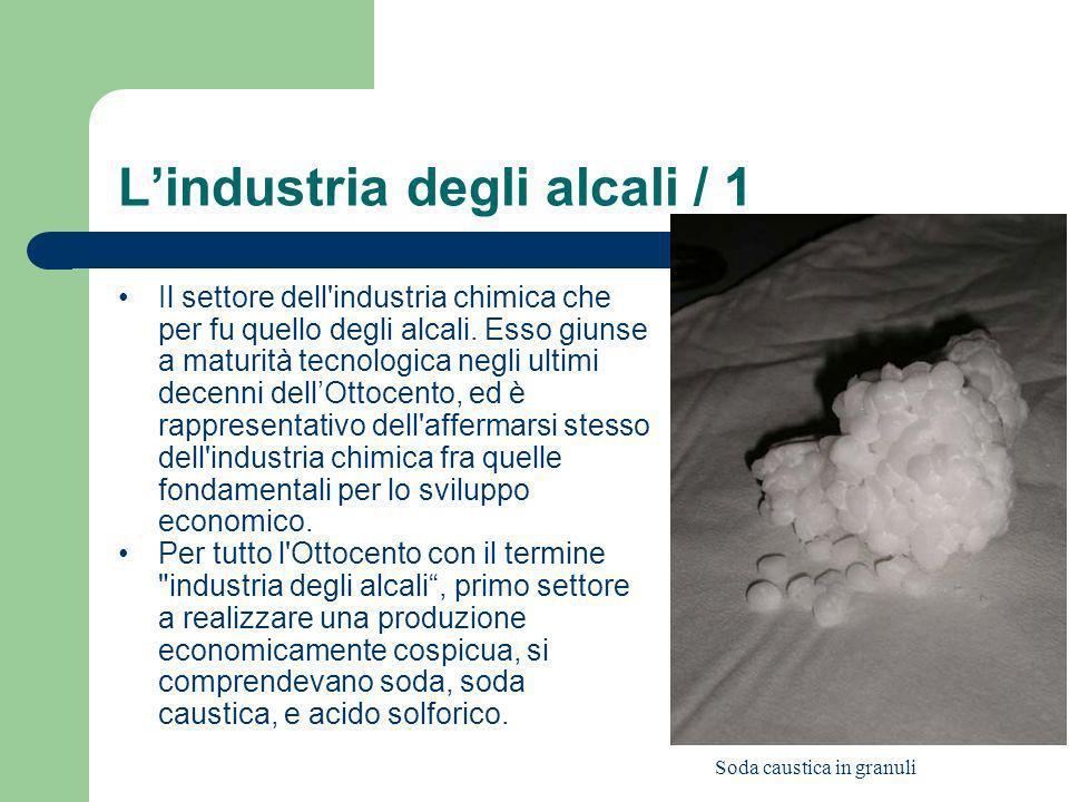 Lindustria degli alcali / 1 Il settore dell'industria chimica che per fu quello degli alcali. Esso giunse a maturità tecnologica negli ultimi decenni