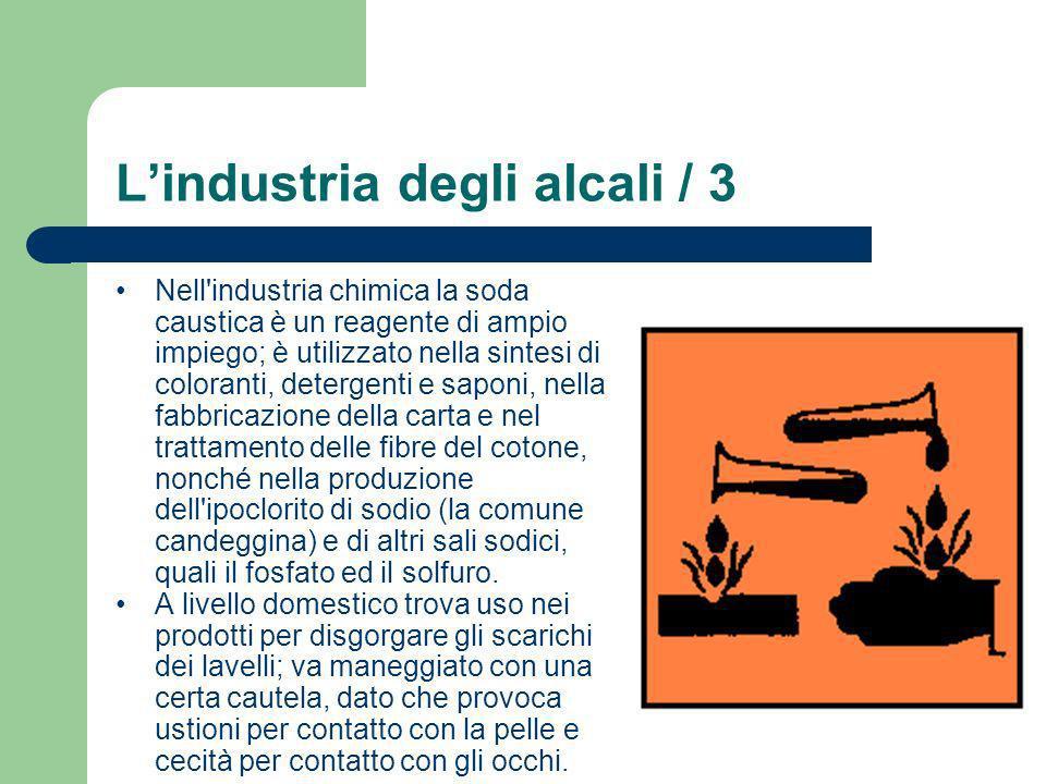 Lindustria degli alcali / 3 Nell'industria chimica la soda caustica è un reagente di ampio impiego; è utilizzato nella sintesi di coloranti, detergent