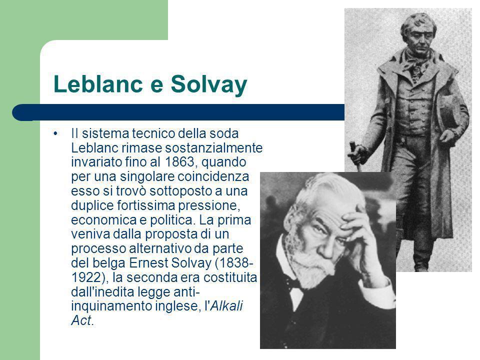 Leblanc e Solvay II sistema tecnico della soda Leblanc rimase sostanzialmente invariato fino al 1863, quando per una singolare coincidenza esso si tro