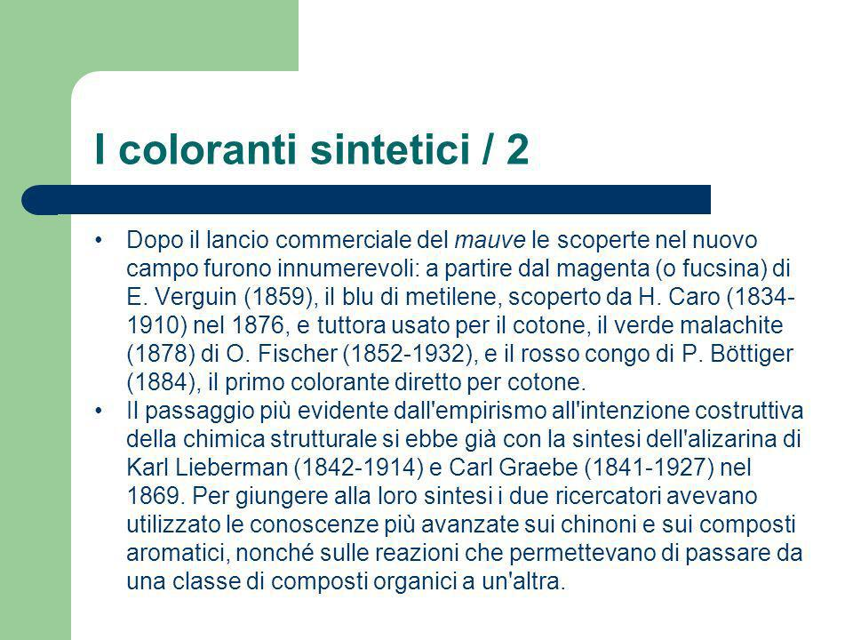 I coloranti sintetici / 2 Dopo il lancio commerciale del mauve le scoperte nel nuovo campo furono innumerevoli: a partire dal magenta (o fucsina) di E
