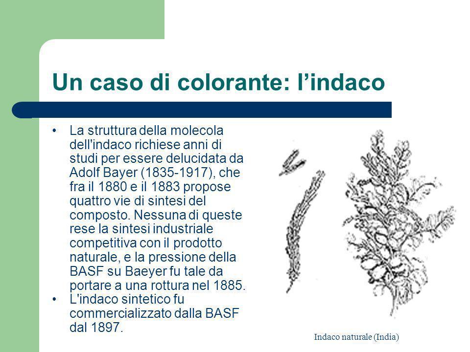 Un caso di colorante: lindaco La struttura della molecola dell'indaco richiese anni di studi per essere delucidata da Adolf Bayer (1835-1917), che fra