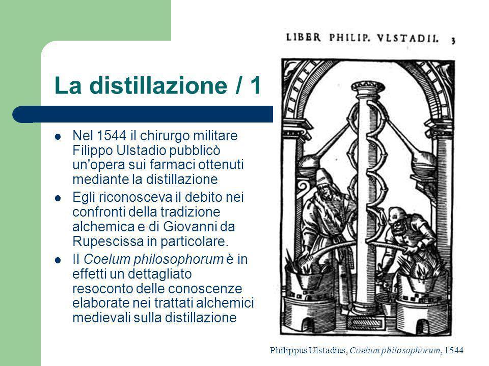 La distillazione / 1 Nel 1544 il chirurgo militare Filippo Ulstadio pubblicò un'opera sui farmaci ottenuti mediante la distillazione Egli riconosceva