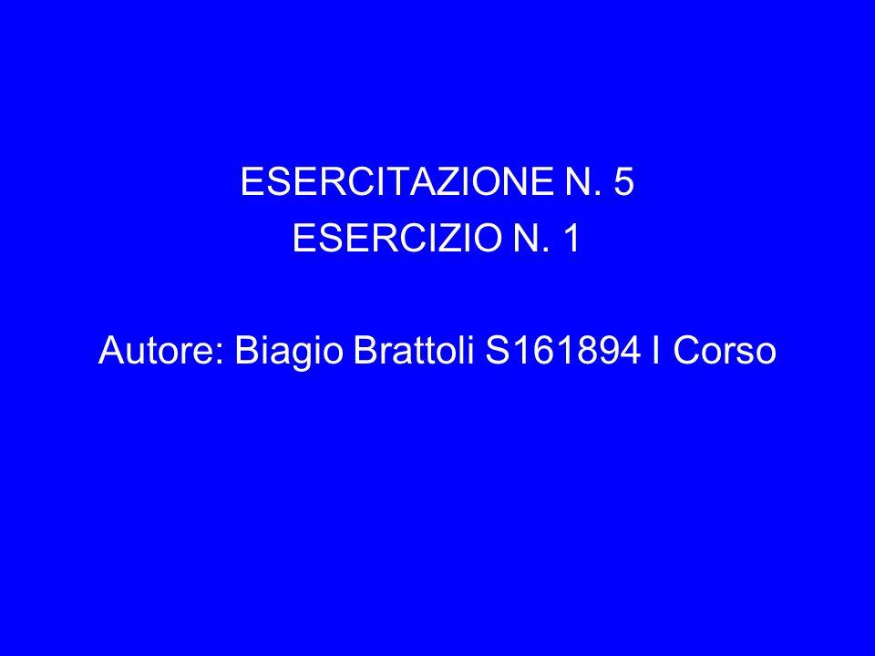 ESERCITAZIONE N. 5 ESERCIZIO N. 1 Autore: Biagio Brattoli S161894 I Corso