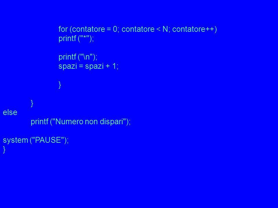 for (contatore = 0; contatore < N; contatore++) printf ( * ); printf ( \n ); spazi = spazi + 1; } else printf ( Numero non dispari ); system ( PAUSE ); }