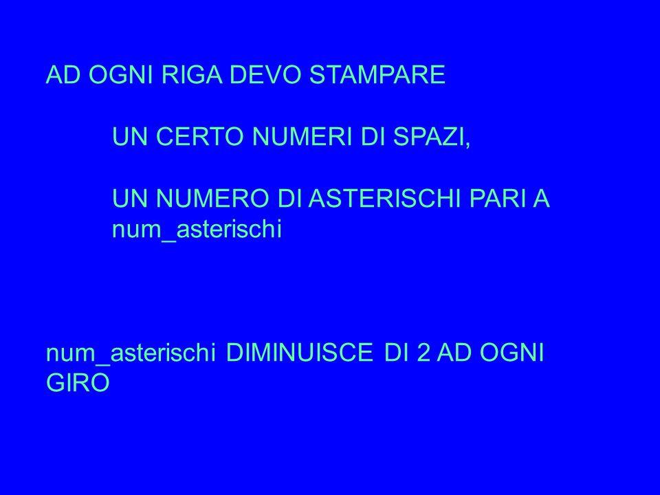 IL NUMERO DI SPAZI È ZERO LA PRIMA RIGA, 1 LA SECONDA, 2 E COSì VIA… leggo num_ast num_spazi = 0 while (num_ast > 0) stampa un numero di blank pari a num_spazi stampa un numero di asterischi pari a num_ast vai_a_capo incrementa di 1 num_spazi decrementa di 2 num_asterischi