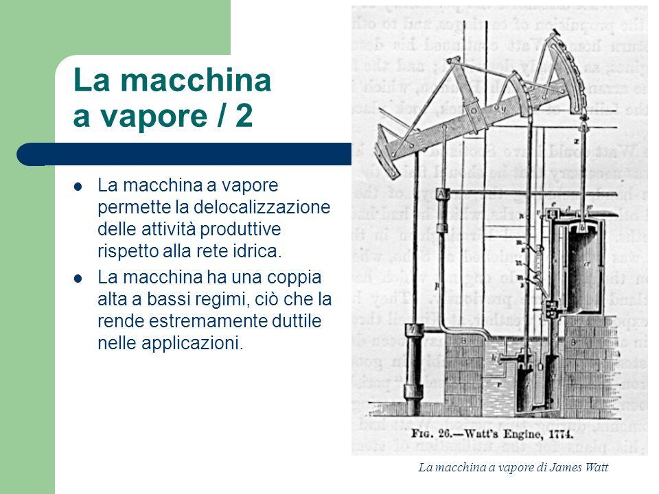 La macchina a vapore permette la delocalizzazione delle attività produttive rispetto alla rete idrica. La macchina ha una coppia alta a bassi regimi,