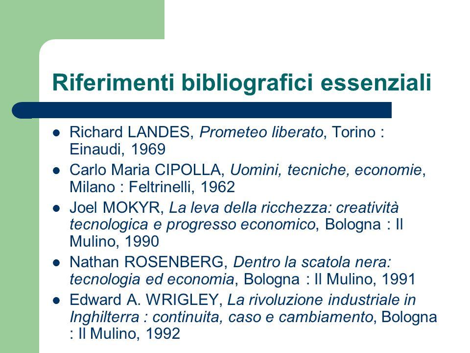 Riferimenti bibliografici essenziali Richard LANDES, Prometeo liberato, Torino : Einaudi, 1969 Carlo Maria CIPOLLA, Uomini, tecniche, economie, Milano