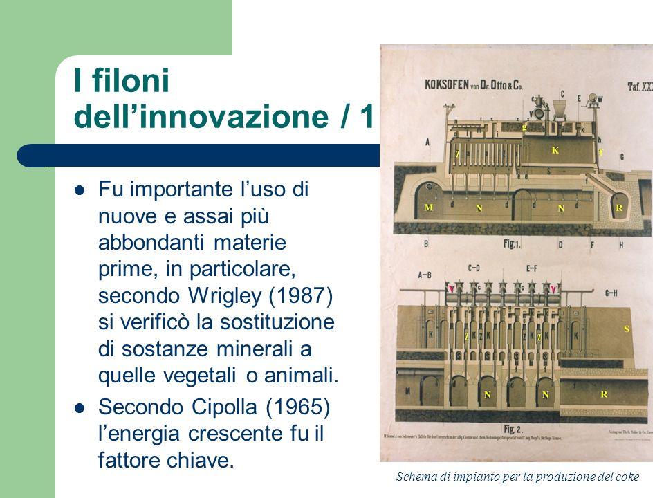 I filoni dellinnovazione / 1 Fu importante luso di nuove e assai più abbondanti materie prime, in particolare, secondo Wrigley (1987) si verificò la s