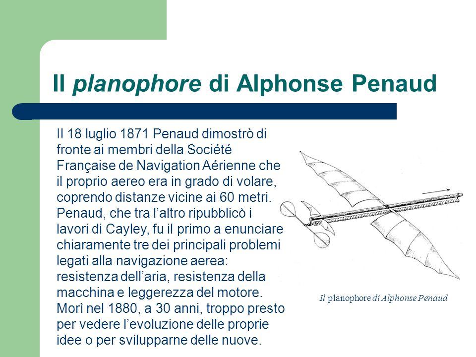 Il planophore di Alphonse Penaud Il 18 luglio 1871 Penaud dimostrò di fronte ai membri della Société Française de Navigation Aérienne che il proprio a
