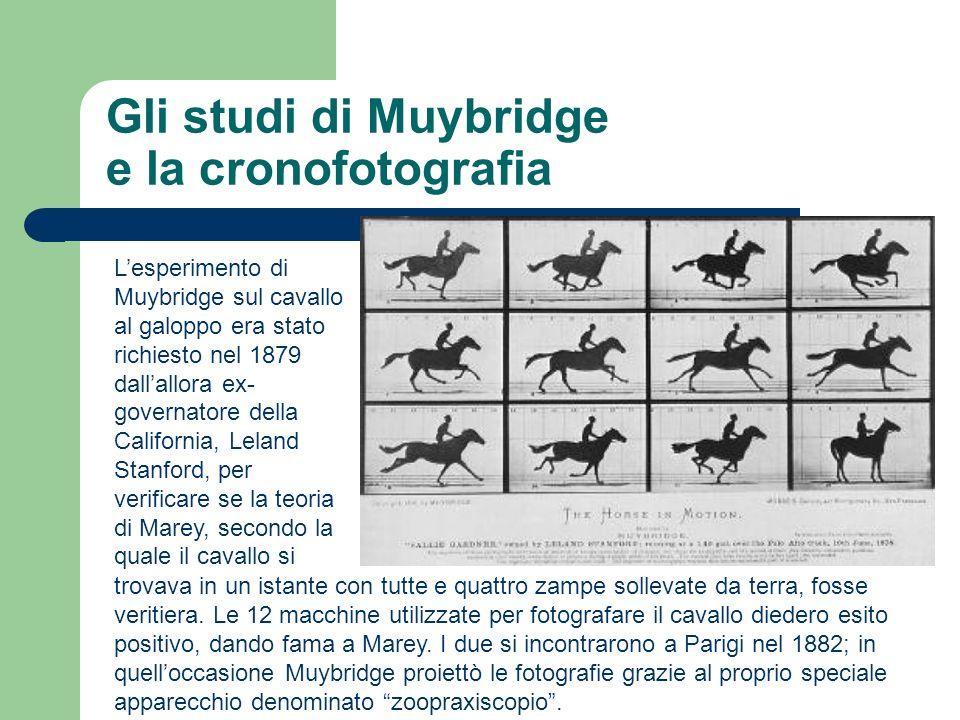 Gli studi di Muybridge e la cronofotografia Lesperimento di Muybridge sul cavallo al galoppo era stato richiesto nel 1879 dallallora ex- governatore d