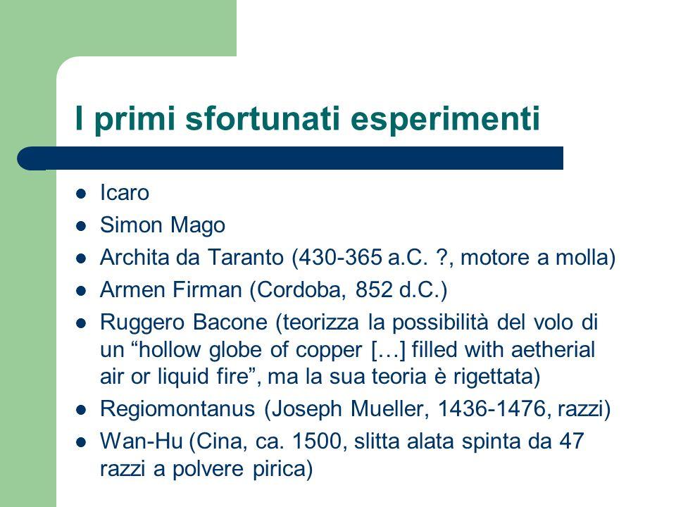 I primi sfortunati esperimenti Icaro Simon Mago Archita da Taranto (430-365 a.C. ?, motore a molla) Armen Firman (Cordoba, 852 d.C.) Ruggero Bacone (t