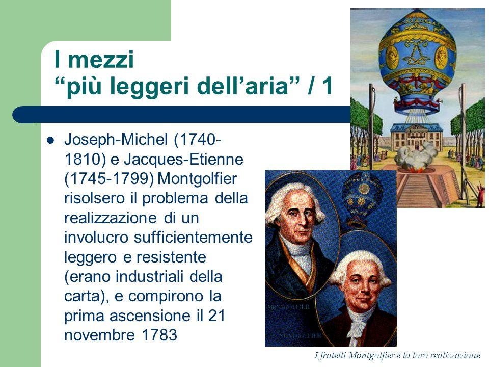 I mezzi più leggeri dellaria / 1 Joseph-Michel (1740- 1810) e Jacques-Etienne (1745-1799) Montgolfier risolsero il problema della realizzazione di un