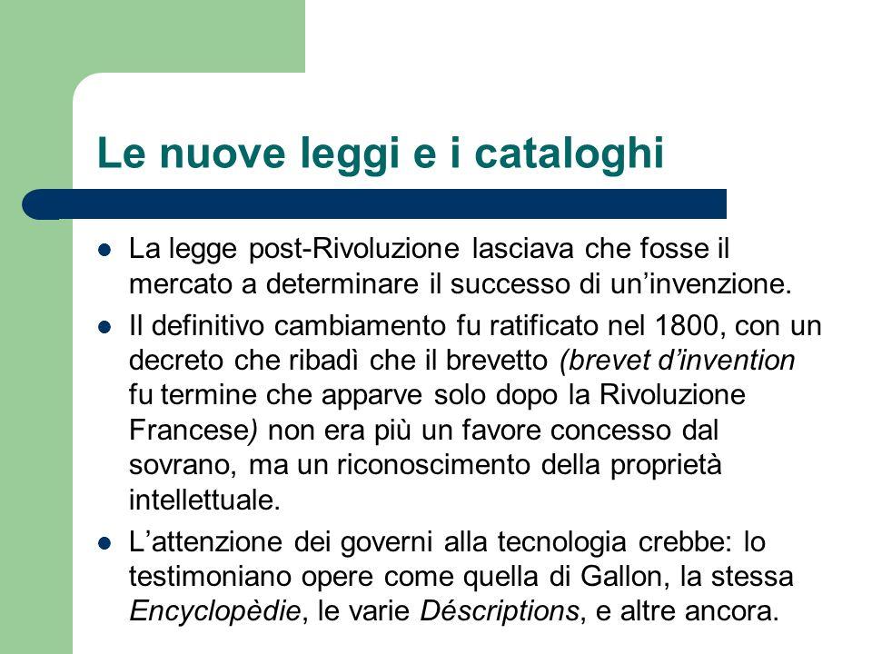 Le nuove leggi e i cataloghi La legge post-Rivoluzione lasciava che fosse il mercato a determinare il successo di uninvenzione. Il definitivo cambiame