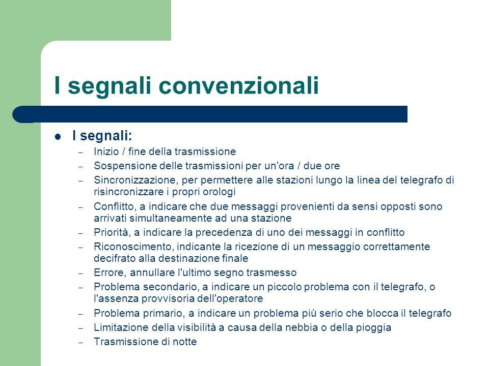 I segnali convenzionali I segnali: – Inizio / fine della trasmissione – Sospensione delle trasmissioni per un'ora / due ore – Sincronizzazione, per pe