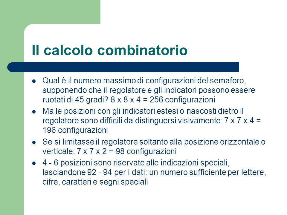 Il calcolo combinatorio Qual è il numero massimo di configurazioni del semaforo, supponendo che il regolatore e gli indicatori possono essere ruotati