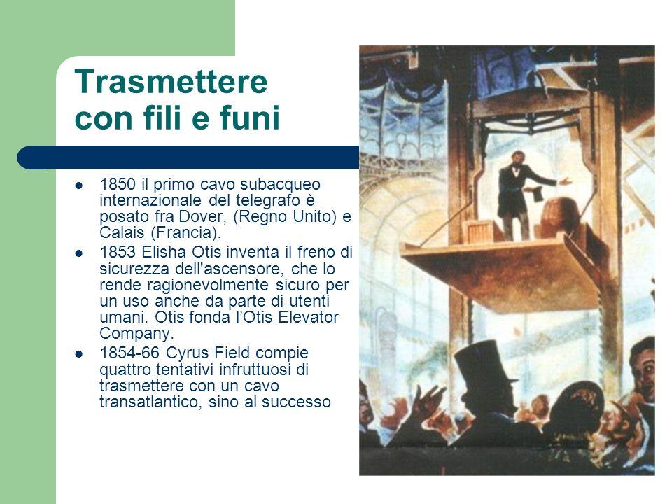 Trasmettere con fili e funi 1850 il primo cavo subacqueo internazionale del telegrafo è posato fra Dover, (Regno Unito) e Calais (Francia). 1853 Elish