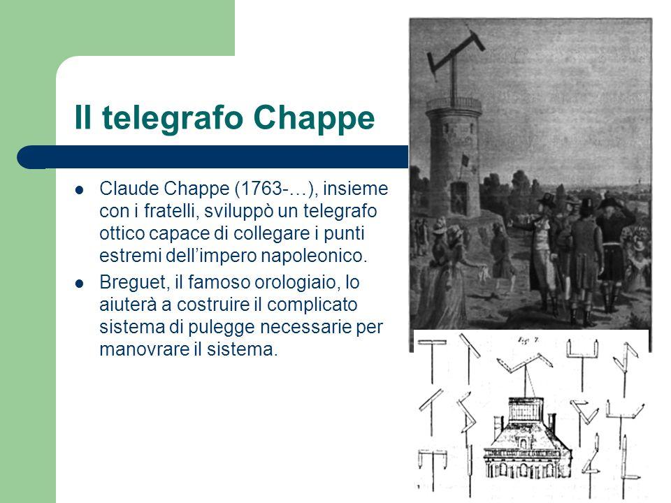 Il telegrafo Chappe Claude Chappe (1763-…), insieme con i fratelli, sviluppò un telegrafo ottico capace di collegare i punti estremi dellimpero napole
