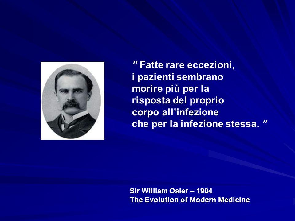 Sir William Osler – 1904 The Evolution of Modern Medicine Fatte rare eccezioni, i pazienti sembrano morire più per la risposta del proprio corpo allin