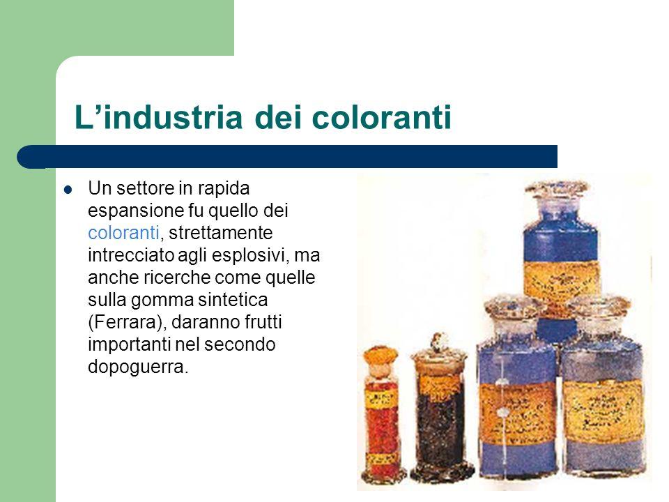 Lindustria dei coloranti Un settore in rapida espansione fu quello dei coloranti, strettamente intrecciato agli esplosivi, ma anche ricerche come quel