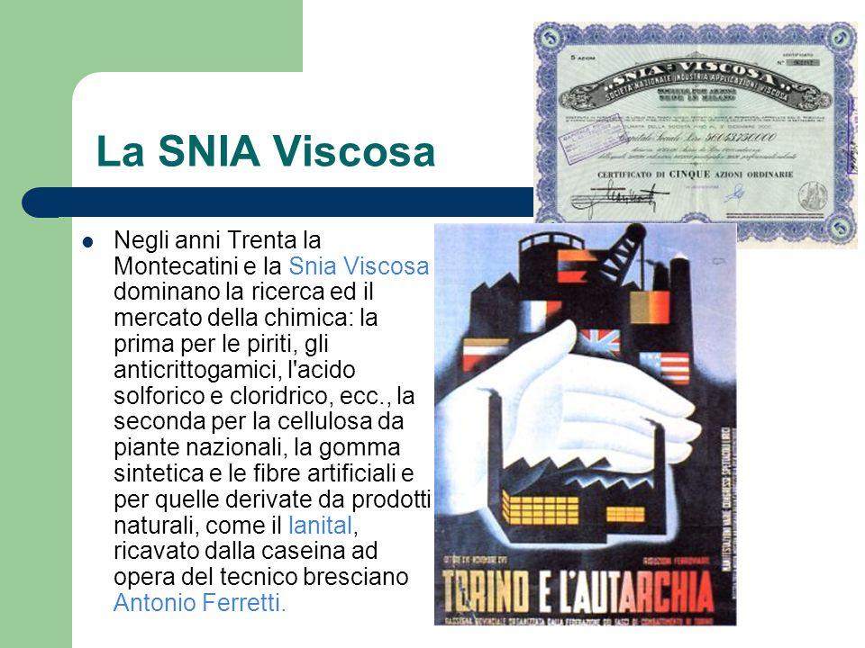 La SNIA Viscosa Negli anni Trenta la Montecatini e la Snia Viscosa dominano la ricerca ed il mercato della chimica: la prima per le piriti, gli anticr