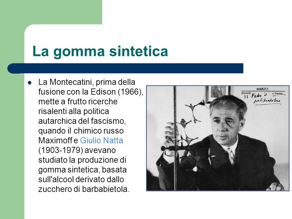 La gomma sintetica La Montecatini, prima della fusione con la Edison (1966), mette a frutto ricerche risalenti alla politica autarchica del fascismo,