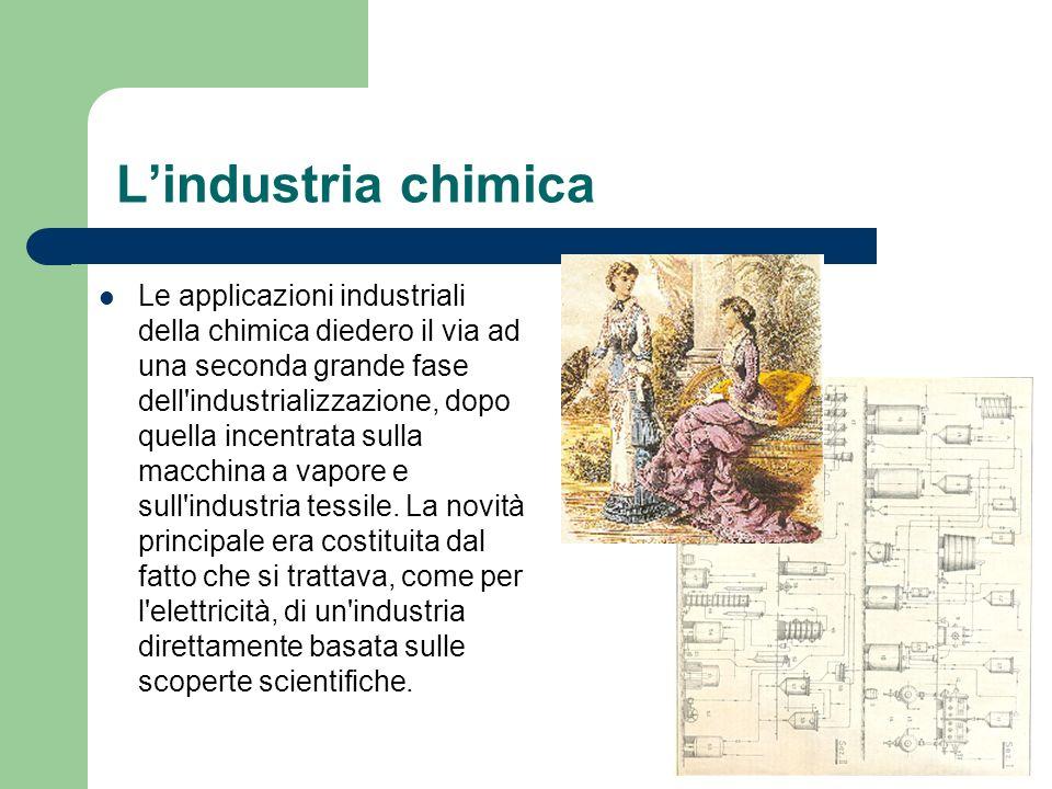 Lindustria chimica Le applicazioni industriali della chimica diedero il via ad una seconda grande fase dell'industrializzazione, dopo quella incentrat