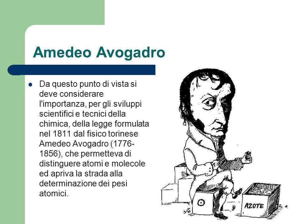 Amedeo Avogadro Da questo punto di vista si deve considerare l'importanza, per gli sviluppi scientifici e tecnici della chimica, della legge formulata