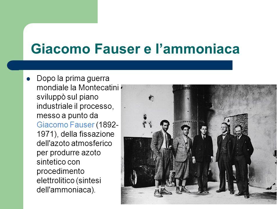Giacomo Fauser e lammoniaca Dopo la prima guerra mondiale la Montecatini sviluppò sul piano industriale il processo, messo a punto da Giacomo Fauser (