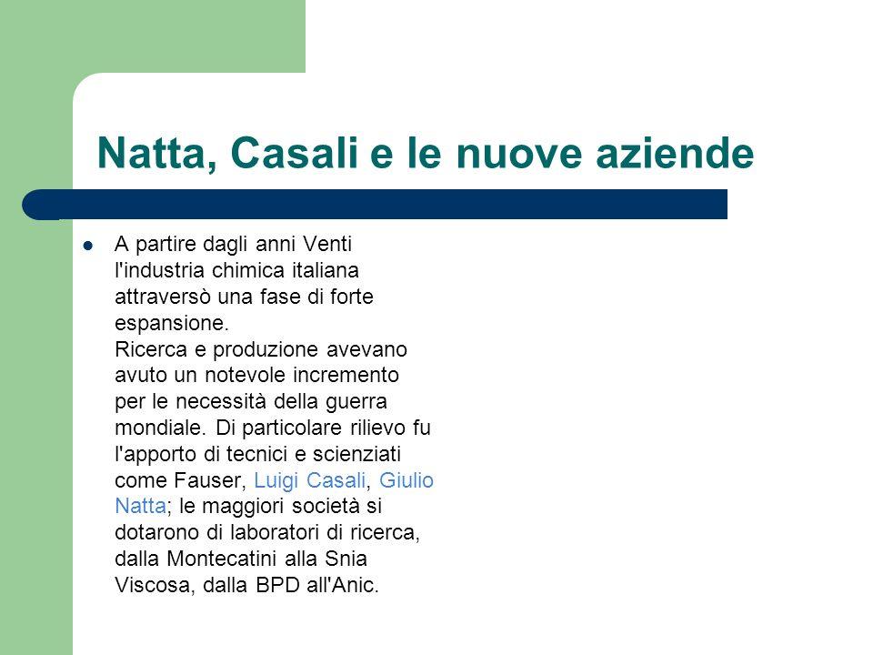 Natta, Casali e le nuove aziende A partire dagli anni Venti l'industria chimica italiana attraversò una fase di forte espansione. Ricerca e produzione