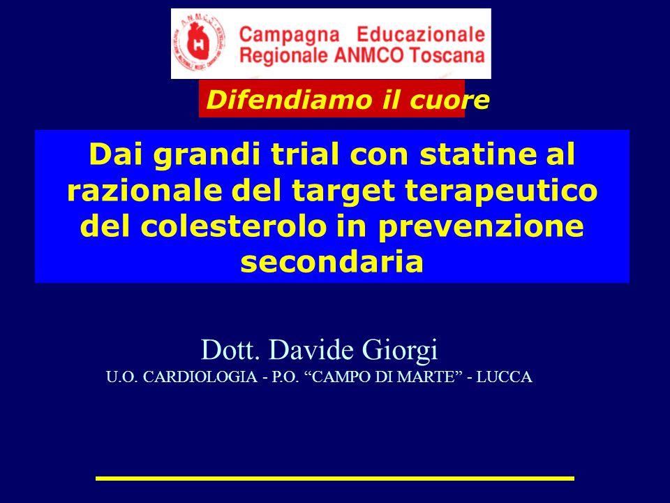 Dai grandi trial con statine al razionale del target terapeutico del colesterolo in prevenzione secondaria Difendiamo il cuore Dott. Davide Giorgi U.O