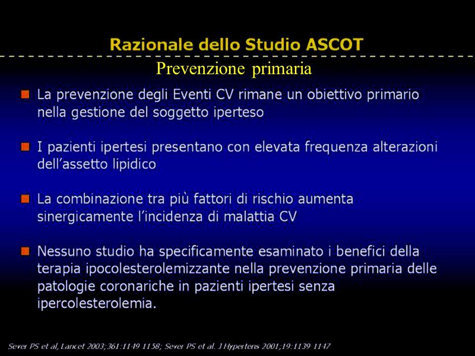 Razionale dello Studio ASCOT Sever PS et al, Lancet 2003;361:1149-1158; Sever PS et al. J Hypertens 2001;19:1139-1147 Prevenzione primaria