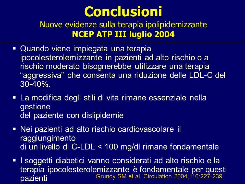 Conclusioni NCEP ATP III luglio 2004 Conclusioni Nuove evidenze sulla terapia ipolipidemizzante NCEP ATP III luglio 2004 Quando viene impiegata una te