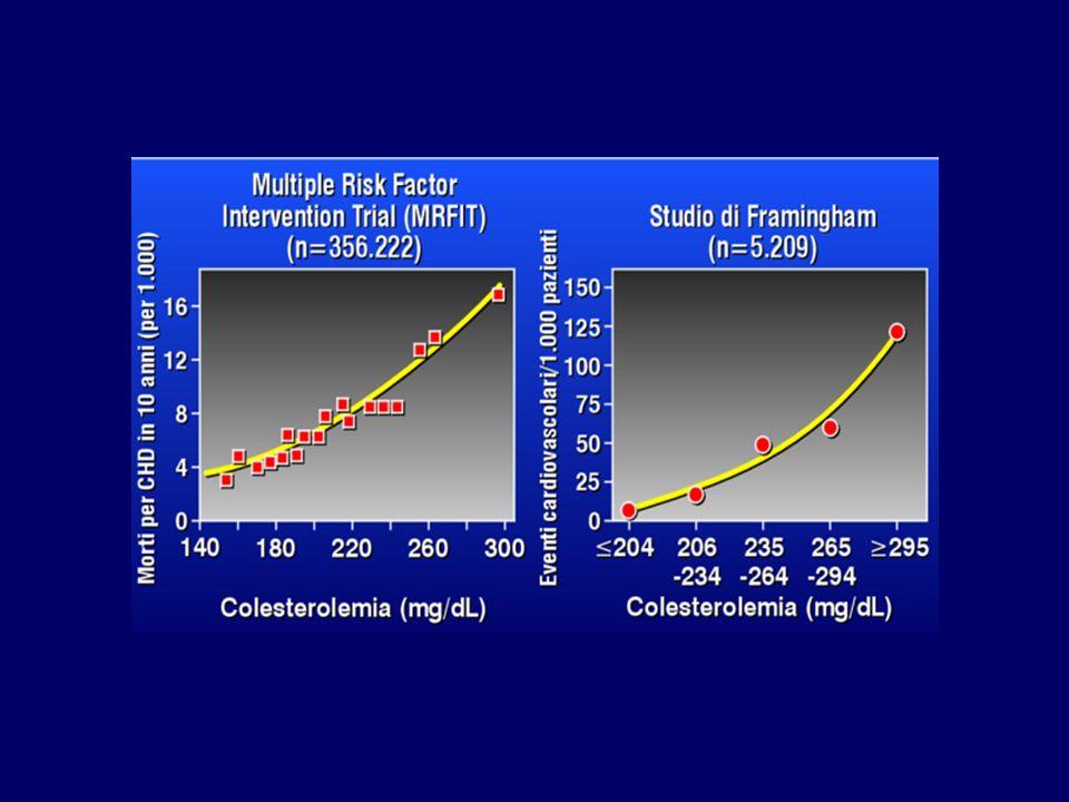 Efficacia e benefici clinici negli studi di confronto tra statine e placebo StudioDimensione del campione Follow-up (anni) C - LDL Riduzion e dei decessi cardiaci mmol/L basale Variazione (mmol/L Variazione( %) e dellIM (%) 4S 44445,44,91,7-3634 HPS 205364,93,41,0-3127 WOSCOP 65955,25,01,3-2629 CARE 41595,03,61,0-2824 LIPID 90146,13,90,9-2524 PROSPER 58043,23,81,0-2719 ASCOT-LLA 103053,33,41,0-2936 AFCAPS/TexCA PS 66055,13,91,0-2737 LIPS 16773,93,40,9-2731 ALERT 21023,94,11,0-3228 CARDS 28383,93,021,2-3234 4D 12553,93,230,9-3118 ASPEN 241042,922,1-2916 SPARCL 47314,93,431,5-4432