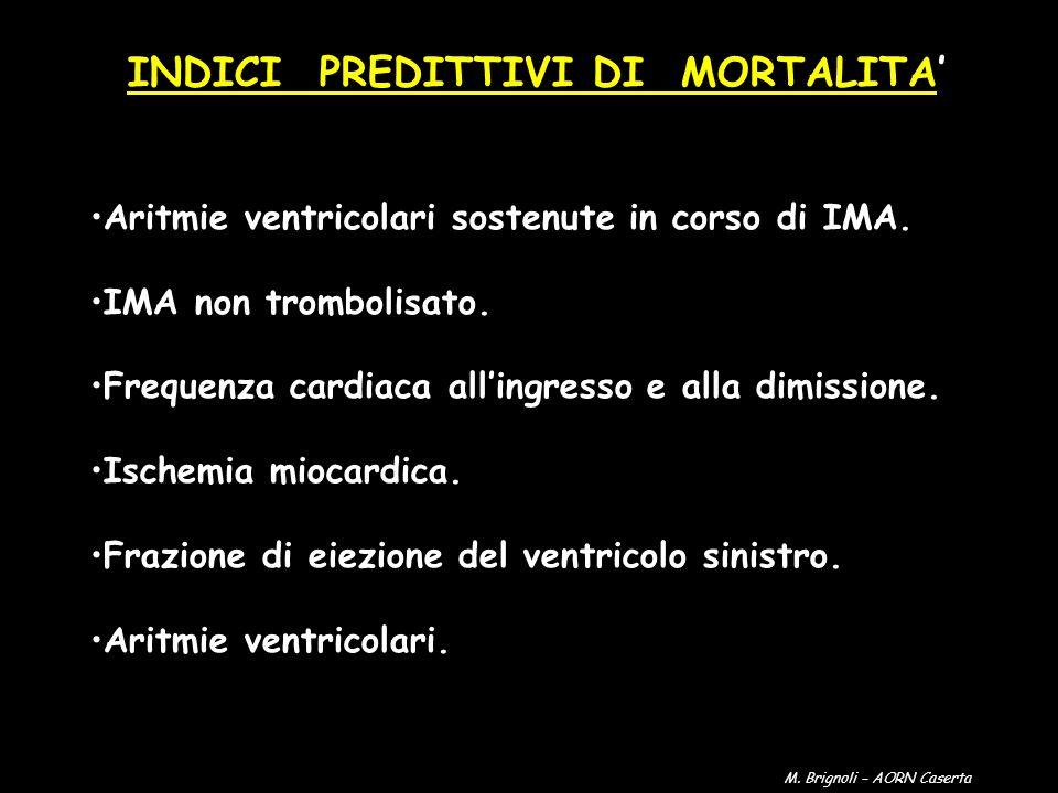 INDICI PREDITTIVI DI MORTALITA Aritmie ventricolari sostenute in corso di IMA. IMA non trombolisato. Frequenza cardiaca allingresso e alla dimissione.
