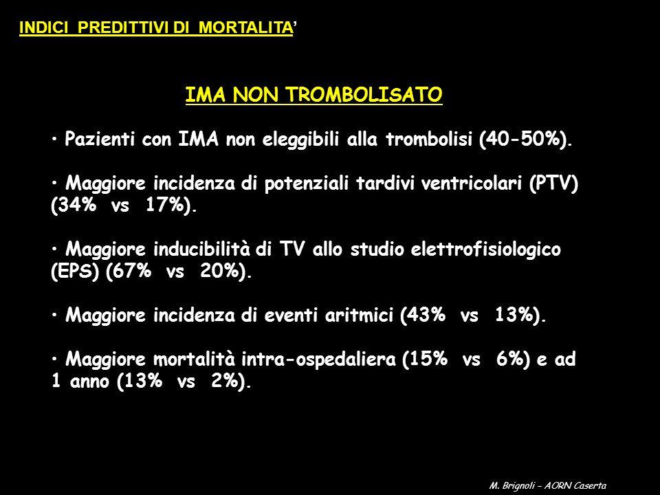 IMA NON TROMBOLISATO Pazienti con IMA non eleggibili alla trombolisi (40-50%). Maggiore incidenza di potenziali tardivi ventricolari (PTV) (34% vs 17%