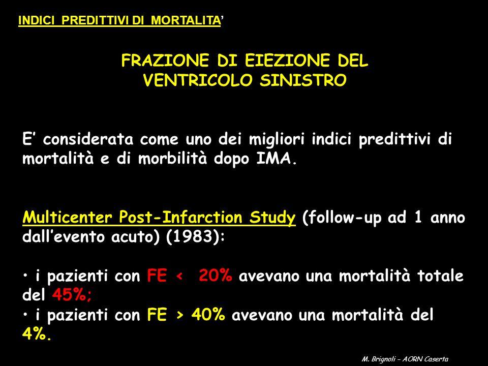 FRAZIONE DI EIEZIONE DEL VENTRICOLO SINISTRO E considerata come uno dei migliori indici predittivi di mortalità e di morbilità dopo IMA. Multicenter P
