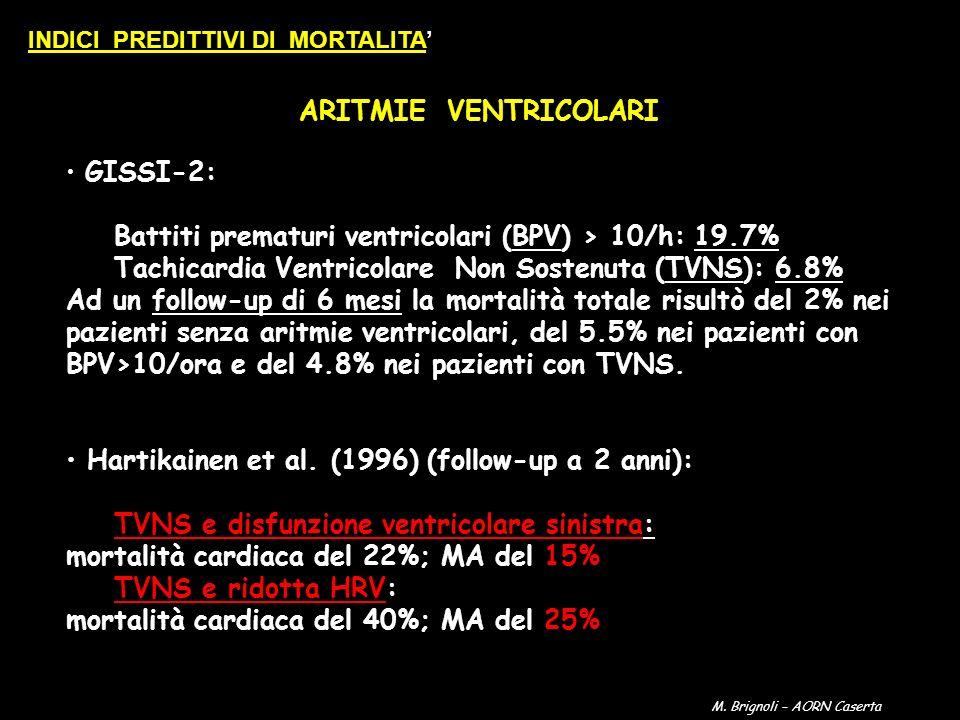 ARITMIE VENTRICOLARI GISSI-2: Battiti prematuri ventricolari (BPV) > 10/h: 19.7% Tachicardia Ventricolare Non Sostenuta (TVNS): 6.8% Ad un follow-up d