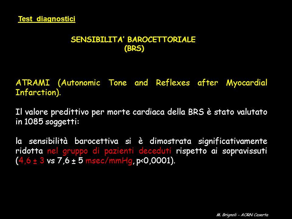 Test diagnostici SENSIBILITA BAROCETTORIALE (BRS) ATRAMI (Autonomic Tone and Reflexes after Myocardial Infarction). Il valore predittivo per morte car