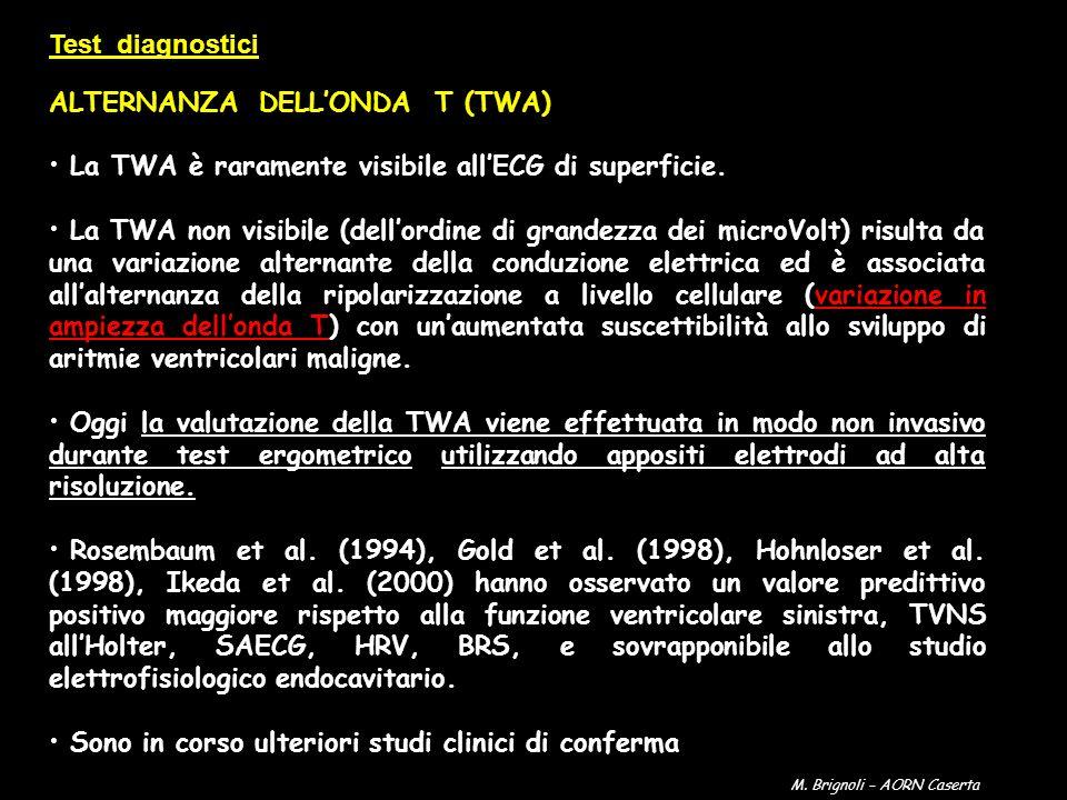 ALTERNANZA DELLONDA T (TWA) La TWA è raramente visibile allECG di superficie. La TWA non visibile (dellordine di grandezza dei microVolt) risulta da u
