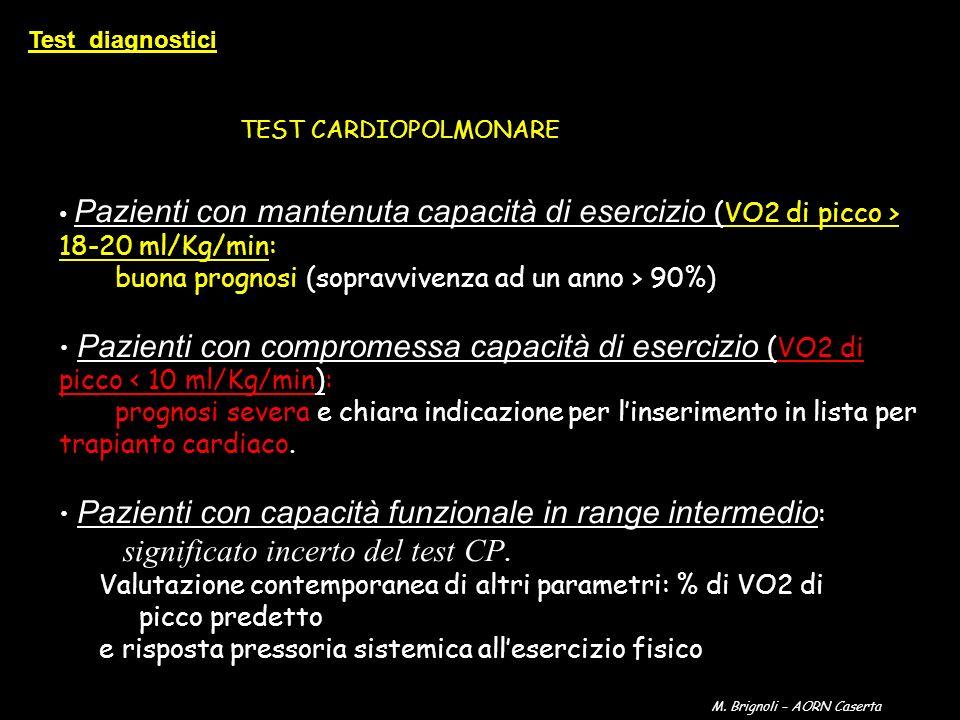 Pazienti con mantenuta capacità di esercizio (VO2 di picco > 18-20 ml/Kg/min: buona prognosi (sopravvivenza ad un anno > 90%) Pazienti con compromessa