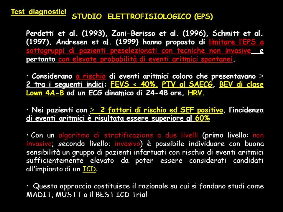 STUDIO ELETTROFISIOLOGICO (EPS) Perdetti et al. (1993), Zoni-Berisso et al. (1996), Schmitt et al. (1997), Andresen et al. (1999) hanno proposto di li