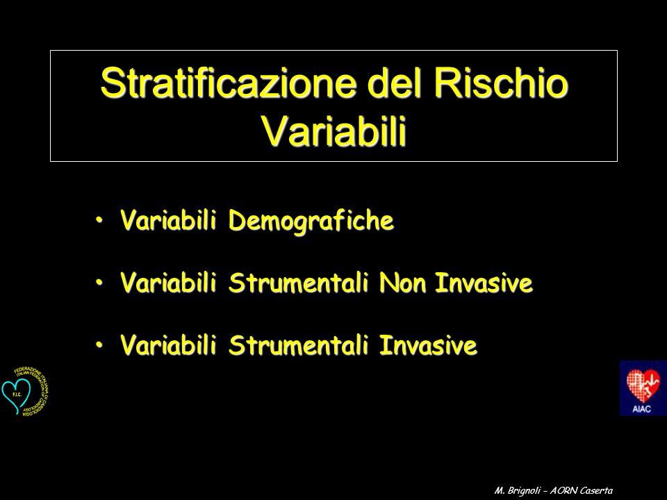 Stratificazione del Rischio Variabili Variabili DemograficheVariabili Demografiche Variabili Strumentali Non InvasiveVariabili Strumentali Non Invasiv