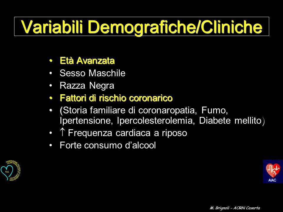 Variabili Demografiche/Cliniche Età AvanzataEtà Avanzata Sesso Maschile Razza Negra Fattori di rischio coronaricoFattori di rischio coronarico ( )(Sto