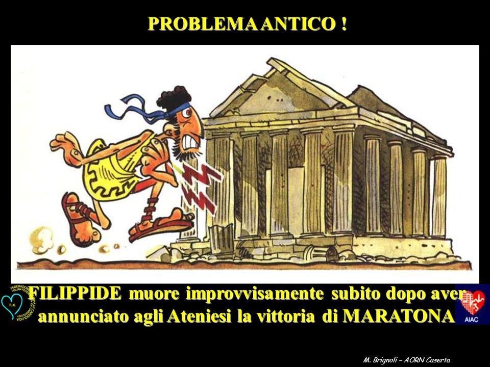 FILIPPIDE muore improvvisamente subito dopo aver annunciato agli Ateniesi la vittoria di MARATONA PROBLEMA ANTICO ! M. Brignoli – AORN Caserta