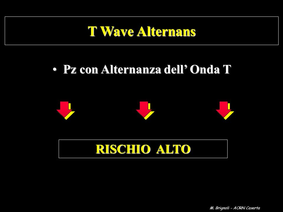Pz con Alternanza dell Onda TPz con Alternanza dell Onda T T Wave Alternans RISCHIO ALTO M. Brignoli – AORN Caserta