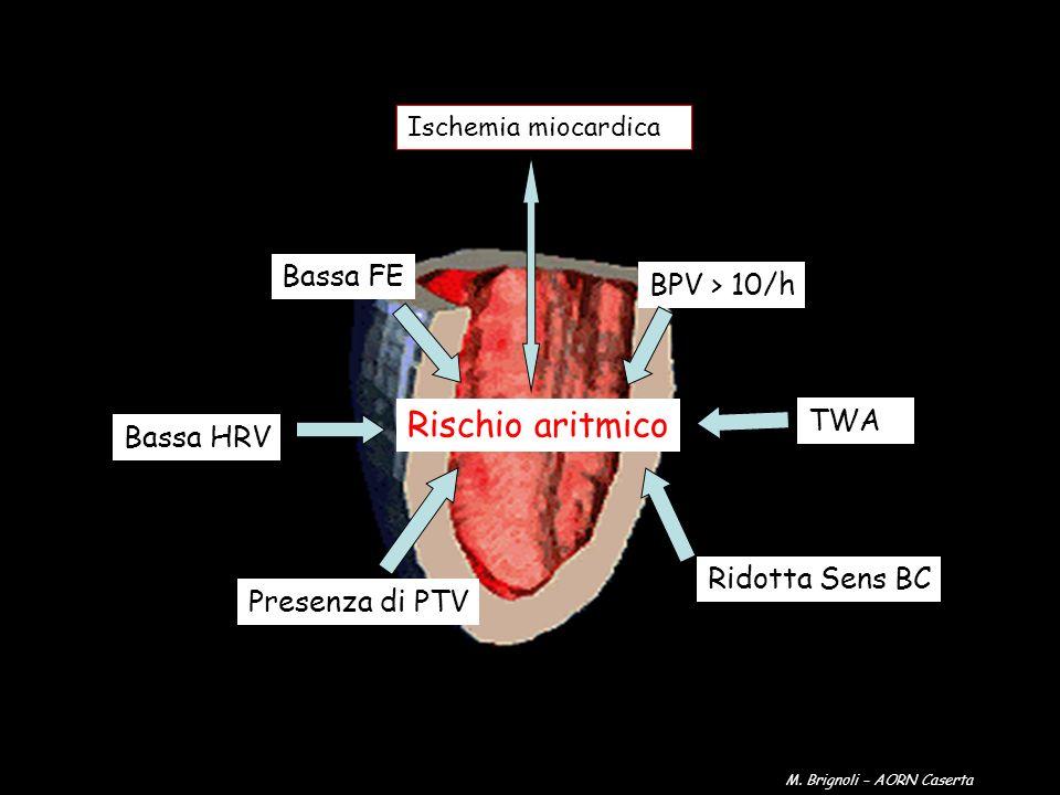Rischio aritmico Bassa FE BPV > 10/h Bassa HRV Presenza di PTV Ridotta Sens BC TWA Ischemia miocardica M. Brignoli – AORN Caserta