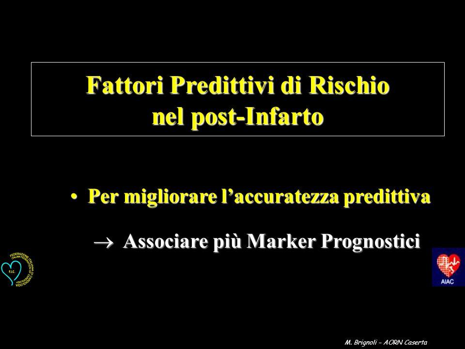 Fattori Predittivi di Rischio nel post-Infarto Per migliorare laccuratezza predittivaPer migliorare laccuratezza predittiva Associare più Marker Progn